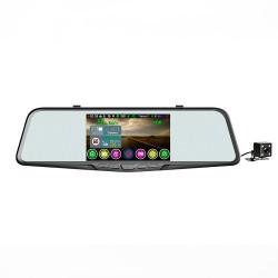 Автомобильный видеорегистратор-зеркало с радар-детектором GPS и 2-я камерами Eplutus GR-51