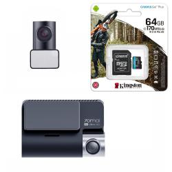 Видеорегистратор Xiaomi 70Mai A800S-1 4K с камерой RC06 + MicroSD 64Gb Kingstone U3 (для записи 4K)