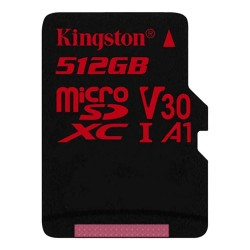 Карта памяти MicroSDXC512GBKingston Class10 UHS-1 U3 V30 A1(90/80 Mb/s)+ SD адаптер (SDCR/512GB)